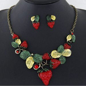 BetseyJohnson Red Strawberry Necklace Earring Set